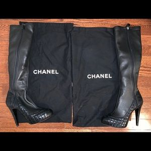 Authentic Chanel Soft Leather Knee Boots